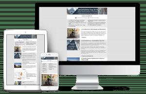 Der Industriebau Newsletter dargestellt auf dem Tablet, dem Smartphone und in der Desktopversion.