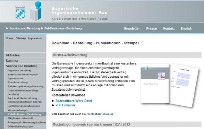 Bayerische Ingenieurekammer Bau Legt Kostenfreien Muster