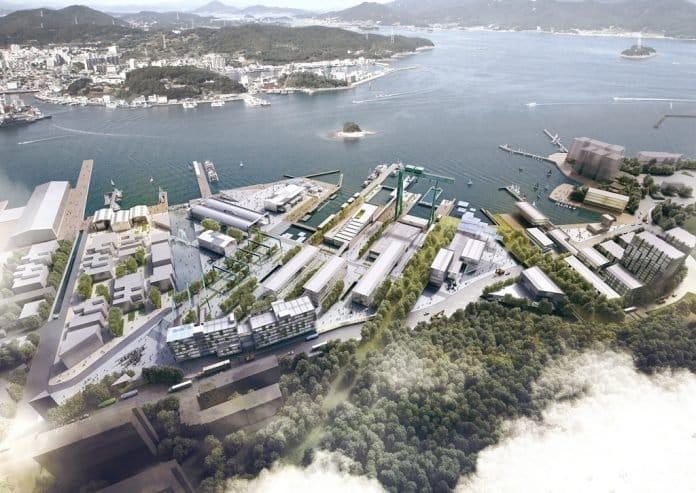 Rendering des neuen Stadtteils Camp Mare im südkoreanischen Tongyeong.