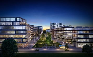 Rendering des Schwarzbach Quartiers in Ratingen.