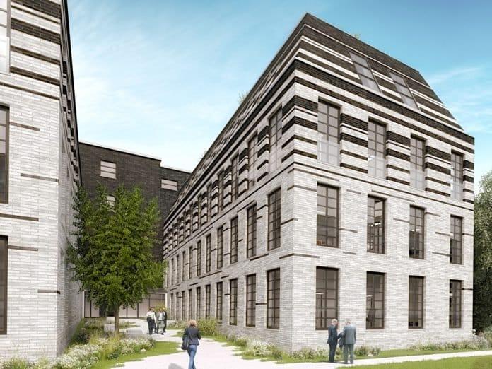 Rendering des Bürogebäudes in der Streitfeldstraße in München.
