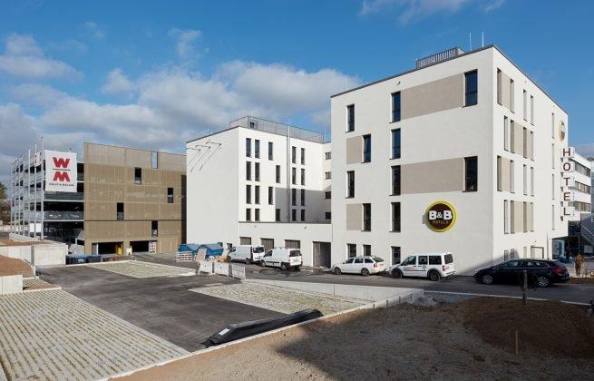 Das B&B-Hotel auf dem Gelände des Wolff & Müller Campus. Bild: Sven Carlin