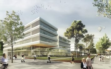 Rendering mit Blick in den ersten Bauabschnitt des Siemens Campus Erlangen. Bild: KSP Jürgen Engel Architekten