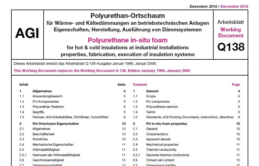 Polyurethan-Ortschaum, AGI Q 138