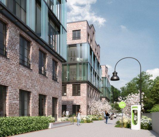 Rendering der Magistrale der Eastside Factory Lofts. Bild: Oliv Architekten