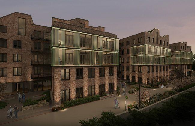 Die einzelnen Gebäude des Bürokomplexes hängen zusammen. Bild: Oliv Architekten