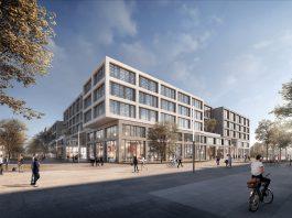 Rendering der Über-Eck-Ansicht auf das erste Gebäude des Münchener LabCampus. Bild: AuerWeber