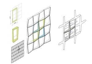 Skizze des Fassadenkonzepts mit Erhöhungen der einzelnen Elemente an den diagonal gegenüberliegenden Ecken. Bild: ATP