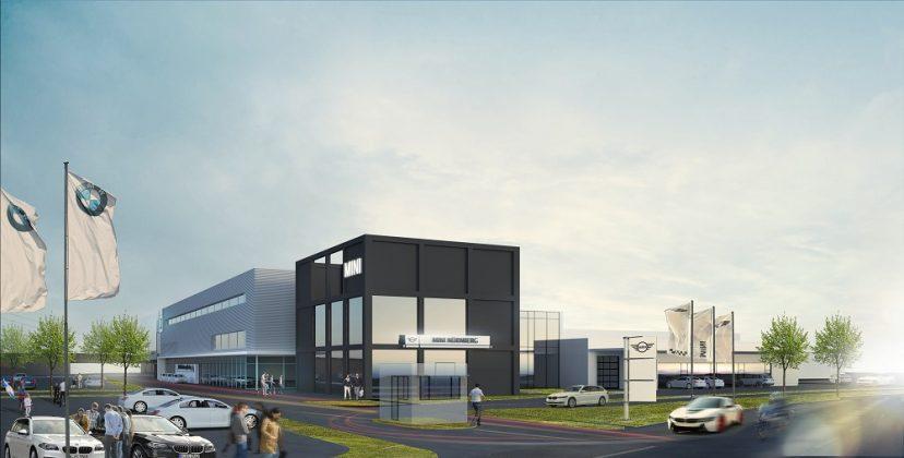 An der Fassade zeigt sich bereits die Einteilung des Gebäudes in die drei Marken. Bild: BMW AG