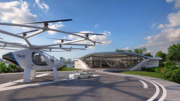 Rendering eines autonomen Flugtaxis vor einem Volo-Port. Bild: Brablab