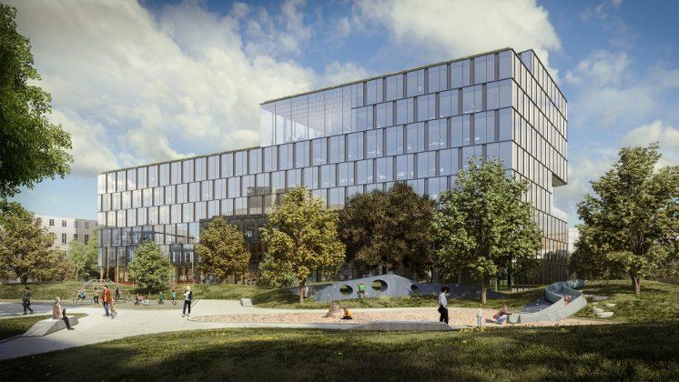 In den Plänen umhüllt eine gläserne Fassade den asymmetrischen Neubau. Bild: HENN