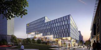 Rendering der neuen Zentrale der Raiffeisenlandesbank Oberösterreich. Bild: HENN
