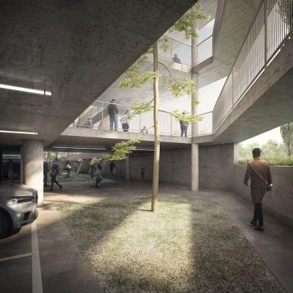 Tageslicht fällt bis ins Parkdeck des Hammerschmidt. Bild: Euroboden/ Formes Massie Studios
