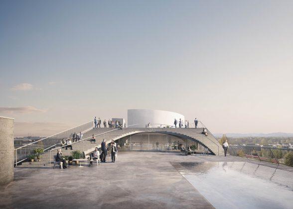 Die Dachterrasse mit einer Fläche von 2.000 qm, Freitreppe und Pool. Bild: Euroboden/ Formes Massie Studios