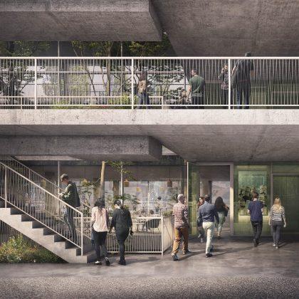 Wie hier im Eingangsplateau dominiert im gesamten Hammerschmidt Sichtbeton. Bild: Euroboden/ Formes Massie Studios