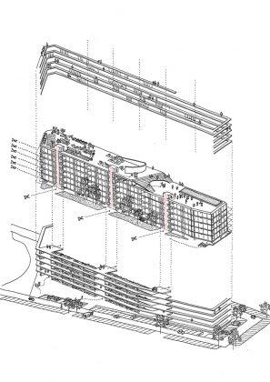 Schematische Darstellung der Gebäudestruktur. Bild: Brandlhuber+ Muck Petzet Architekten