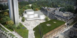 Rendering des Kö-Bogen II in Düsseldorf, einem Projekt von ingenhoven architects. Bild: ingenhoven architects/Cadman