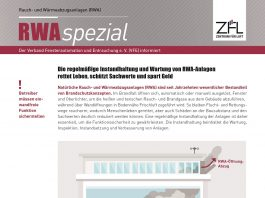 """Die VFE-Broschüre """"RWAspezial"""" informiert zur Wartung und Instandhaltung von Rauch- und Wärmeabzugsanlagen (RWA). Bild: Verband für Fensterautomation und Entrauchung e.V. (VFE)"""
