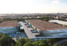 Rendering der zweistöckigen Logistikimmobilie in Hamburg. Bild: Four Parx GmbH