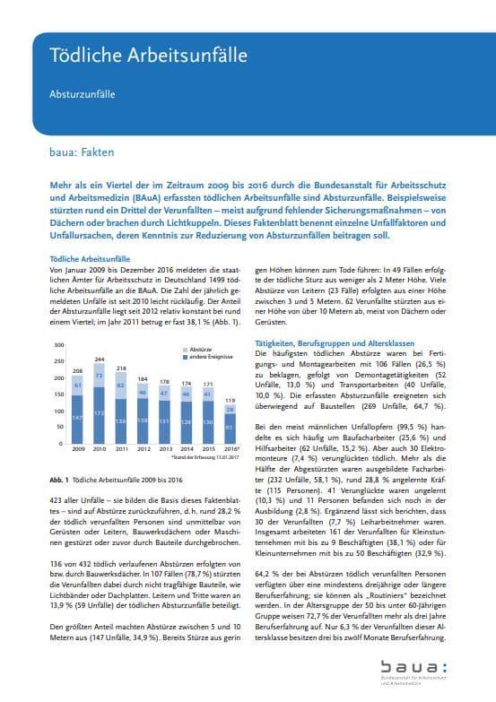 """Faktenblatt """"Tödliche Arbeitsunfälle – Absturzunfälle"""" der Bundesanstalt für Arbeitsschutz und Arbeitsmedizin (BAuA)"""