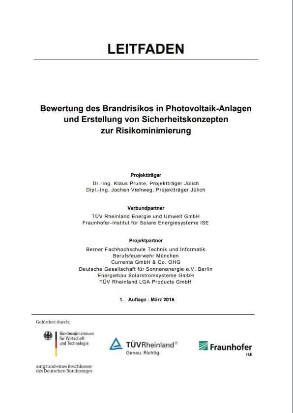 Leitfaden zur Bewertung des Brandrisikos in PV-Anlagen und Erstellung von Sicherheitskonzepten zur Risikominimierung als PDF