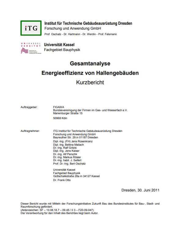 Gesamtanalyse Energieeffizienz Hallengebäude für EnEV-Novelle
